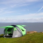 Cinch tent with solar power